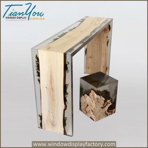 Custom wood resin table for sale