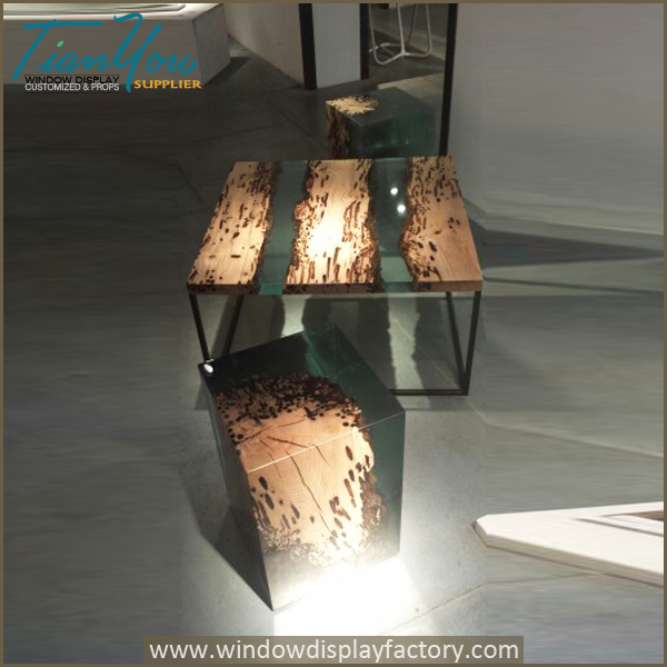 Industrial Furniture Wood Epoxy Resin Table Top on Natural Wood Furniture With Color