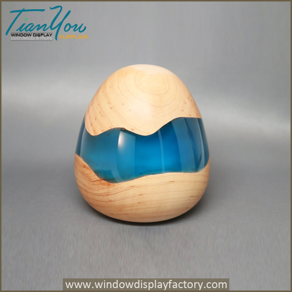 Handmade Wooden Egg Sculpture Colored Red Pearl Resin Embedded