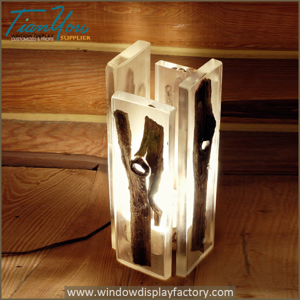 Custom wood resin table lamps for atmosphere window display custom wood resin table lamps for atmosphere aloadofball Images