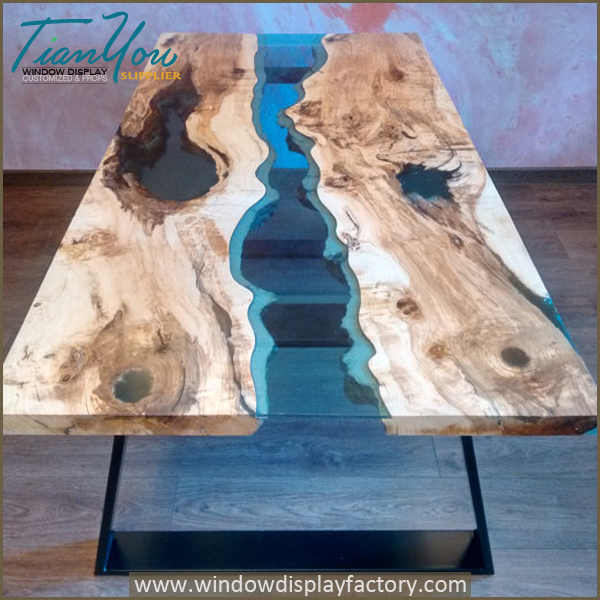 glow resin table in the dark