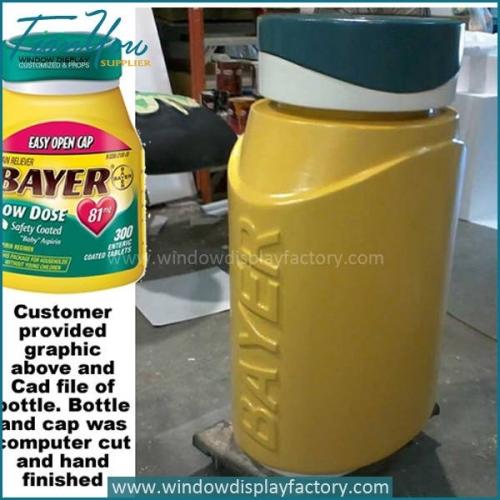 Outdoor fiberglass giant bottle display props of Bayer