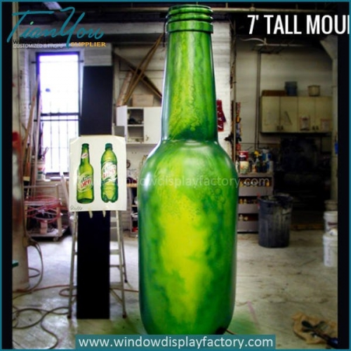 Outdoor fiberglass giant bottle display props of beer