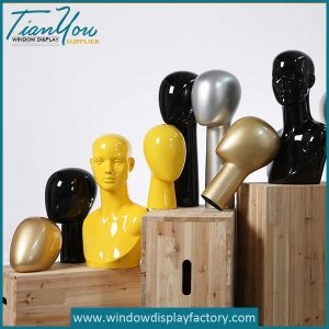 Colorful Fiberglass Mannequin Heads Dispaly Props