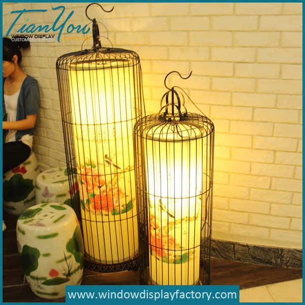 Custom Large Birdcage Shape Iron Lamp