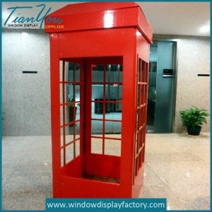 Anitique Public Red Fiberglass Telephone Booth