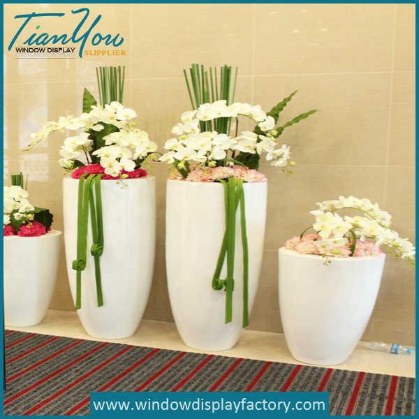 Elegant White Fiberglass Tall Vases Decoration