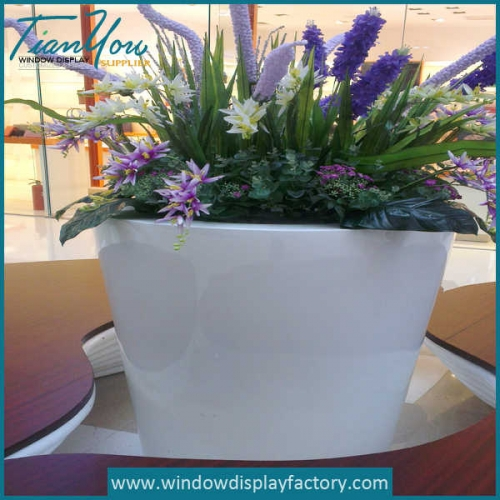 Square White Fiberglass Flower Vase Table Decoration