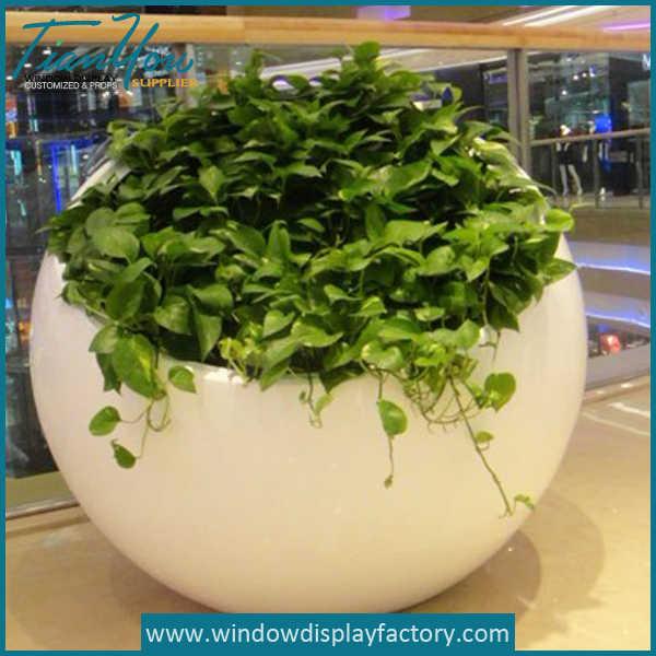 Large Round White Fiberglass Plant Floor Vase