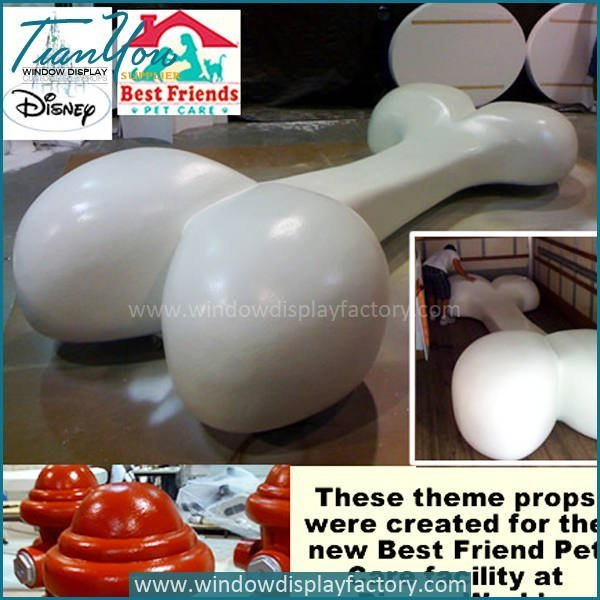 Giant Hand Made White Fiberglass Dog Bone Display