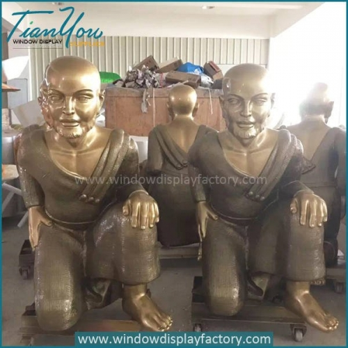 Giant Gold Fiberglass Electroplate Monk Statues