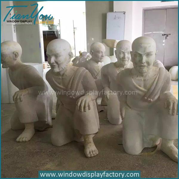 Monk3 - Giant Gold Fiberglass Electroplate Monk Statues