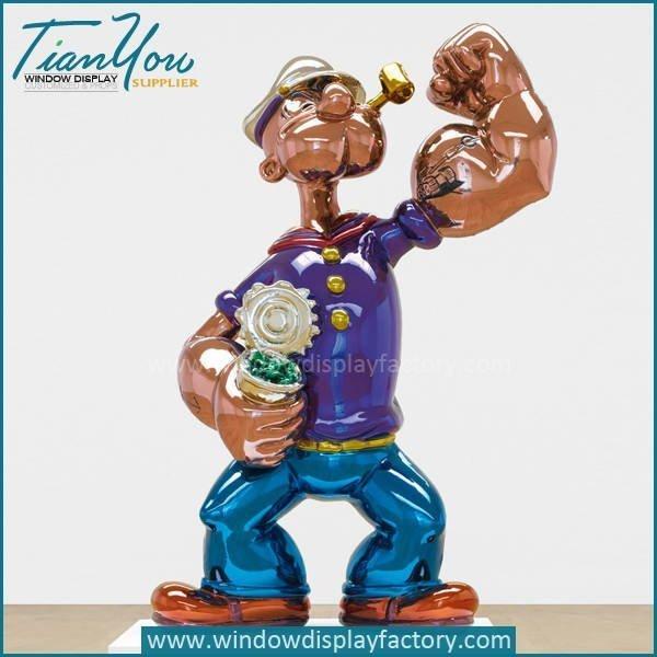 Electroplate Colorful Life Size Fiberglass Popeye Statue