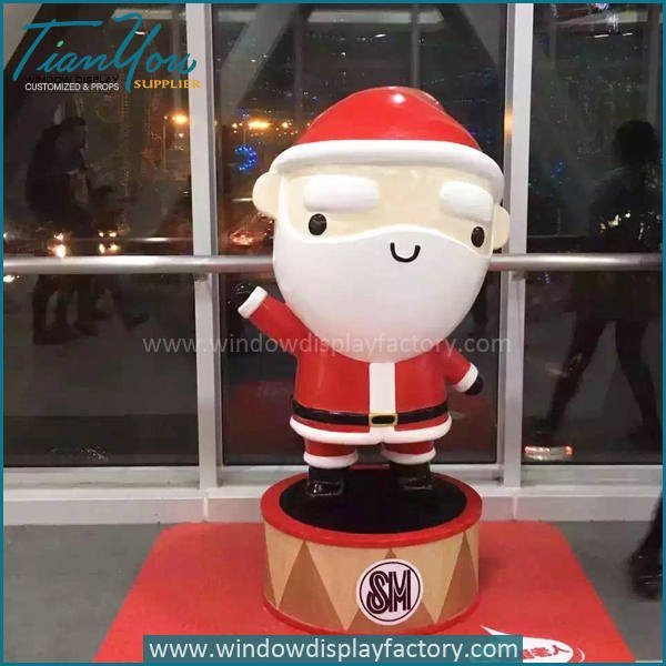 Santa Claus - Fiberglass Christmas Decoration Cute Santa Claus Statue