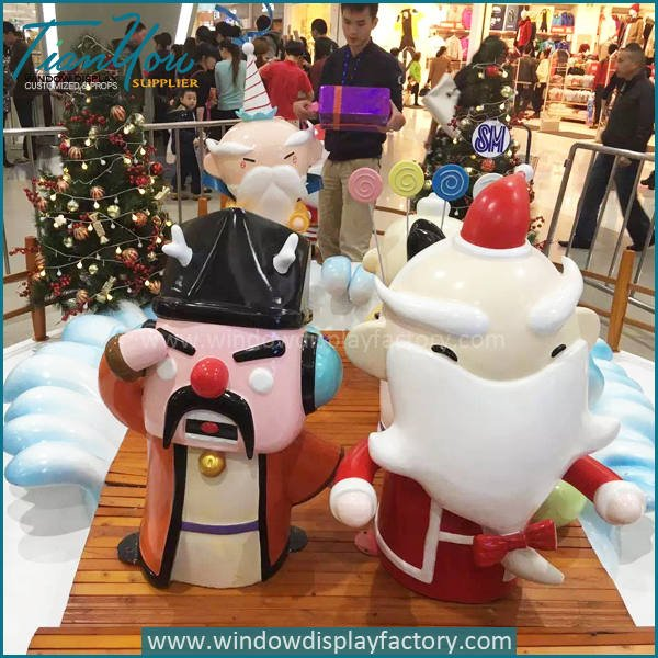 Santa Claus3 - Fiberglass Christmas Decoration Cute Santa Claus Statue