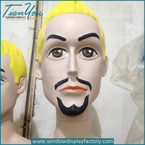 Custom Colorful Fiberglass Big Head Mannequin Display