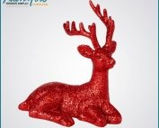 Bling Red Fiberglass Deer Statue Christmas Decoration