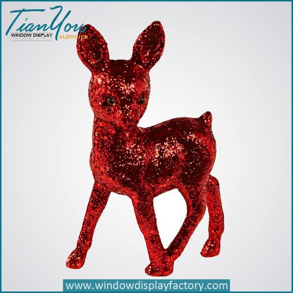 bling red fiberglass little deer statue christmas decoration - Bling Red Fiberglass Deer Statue Christmas Decoration