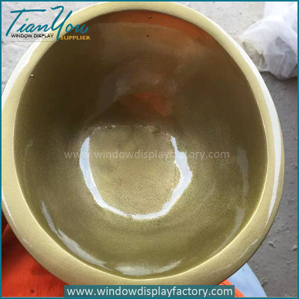 Electroplate Gold Giant Fiberglass Bowl Display