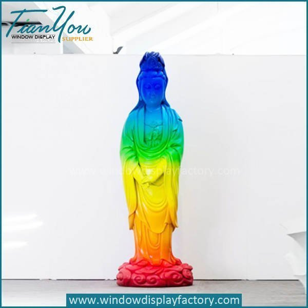 Elegant Colorful Art Goddess of Mercy Buddha Statue