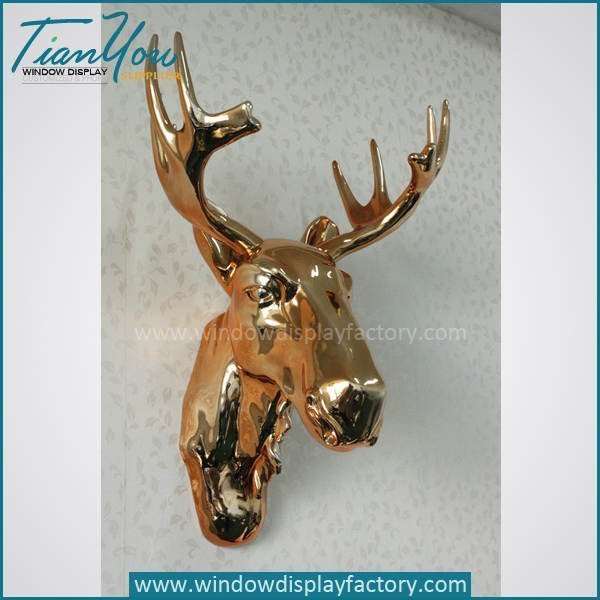 Electroplate Gold Resin Deer Head Wall Decoration