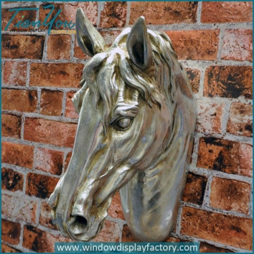 Vintage Fiberglass Horse Head Mannequin on Wall