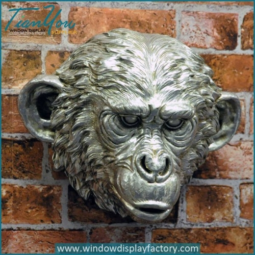 Vintage Fiberglass Gorilla Head Craft on Wall Display
