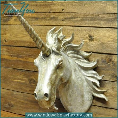 Vintage Fiberglass Unicorn Head Display on Wall