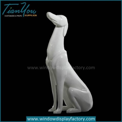 Life Size Lovely Sitting Fiberglass Dog Cculpture Decoration