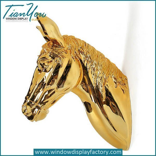 Electroplate Golden Resin Horse Head Wall Decoration