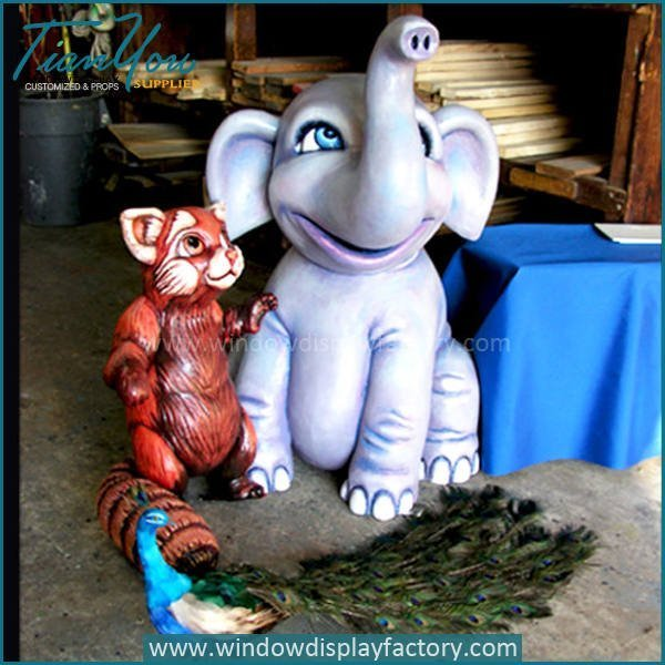 Lovely Life Size Fiberglass Child Elephant Figurines