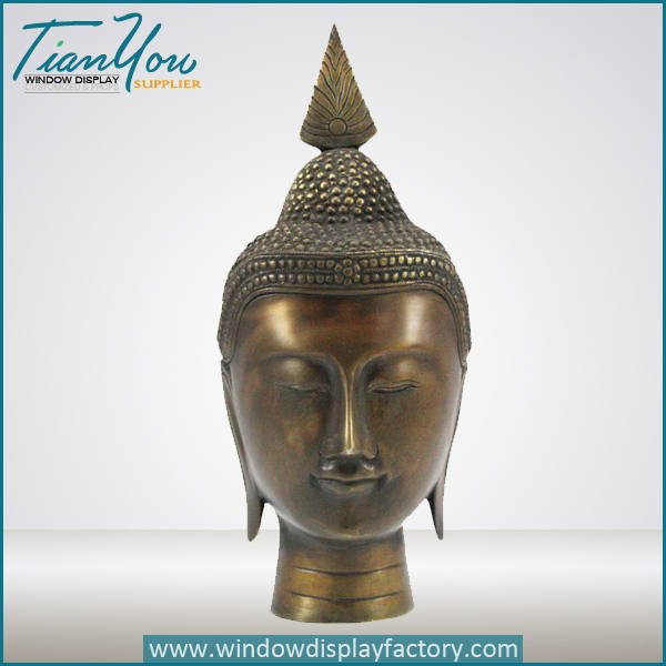 fiberglass buddha head decoration - Antique Craft Brass Color Fiberglass Buddha Head
