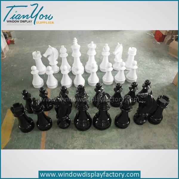 Black White Fashion Custom Plastic Chess Set