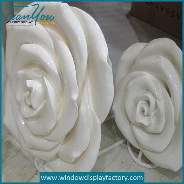 Giant Pure White Fiberglass Flower Statues