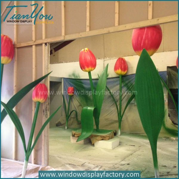 Popular Giant Fiberglass Flower Artificial Tulips Decoration