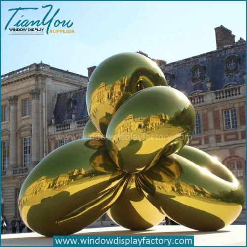 Giant Electroplate Gold Fiberglass Abstract Balloon Dog Statue