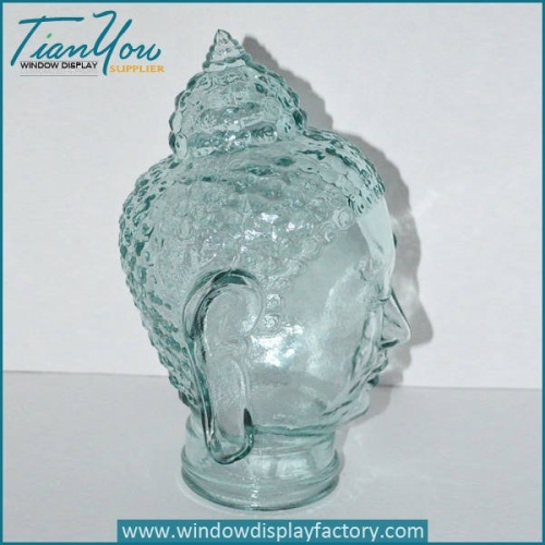 Decorative Life Size Glass Buddha Head Craft Display