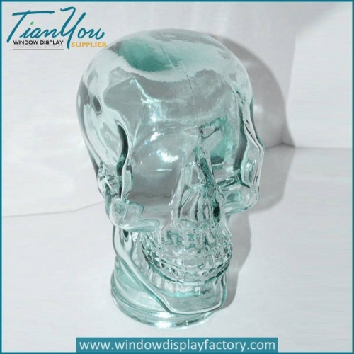Halloween Decoration Glass Skull Head Display