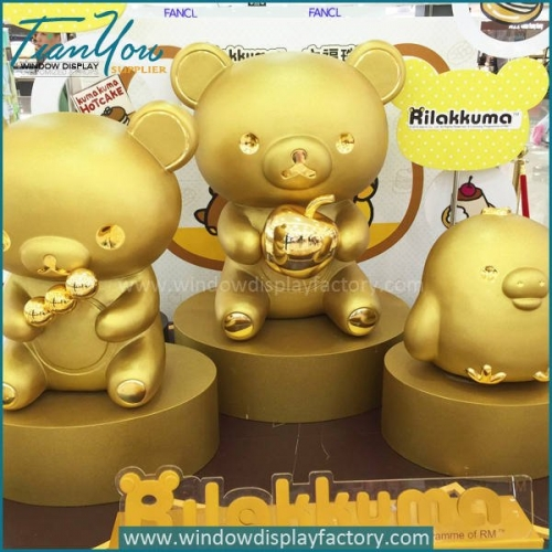 Gold Life Size Fiberglass Electroplate Bear Statue