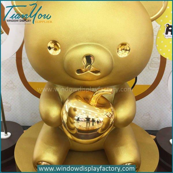 golden bear2 - Gold Life Size Fiberglass Electroplate Bear Statue