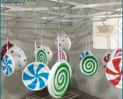 Lovely Giant Fiberglass Rainbow Lollipop Display Props