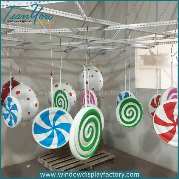 Lovely Giant Fiberglass Rainbow Lollipop Display Props
