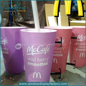 Custom Colorful Giant Cup Display Props with MCD Logo