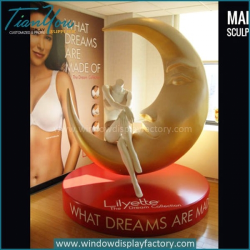 Electroplate Large Fiberglass Moon Seat Display