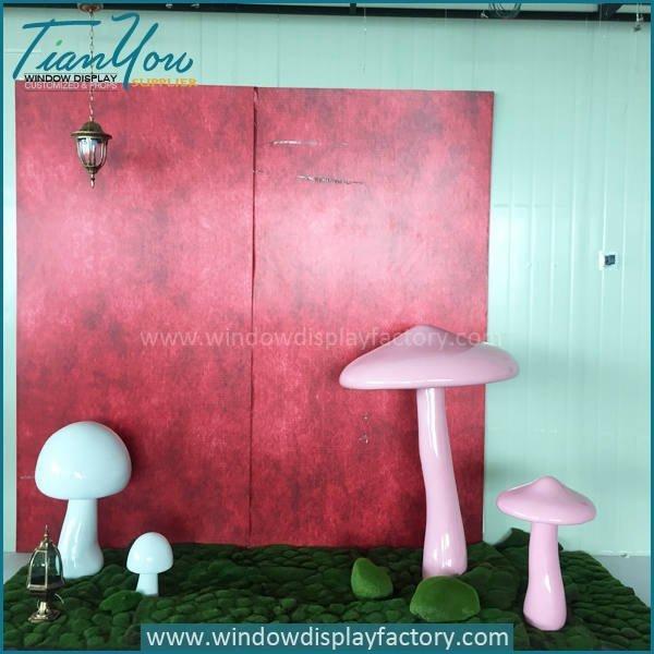 Artificial Popular Giant Fiberglass Mushroom Decoration