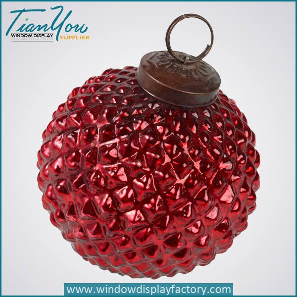 resin electroplated christmas ball red  - Electroplate Colorful Cute Resin Christmas Ball Decoration