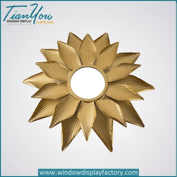Vintage Round Resin Golden Mirror Decoration