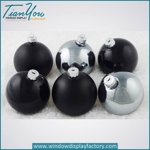 resin imitation metal electroplated christmas ball black  - Electroplate Colorful Cute Resin Christmas Ball Decoration