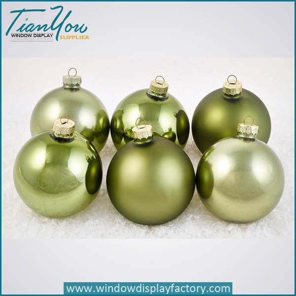 resin imitation metal electroplated christmas ball green  - Electroplate Colorful Cute Resin Christmas Ball Decoration