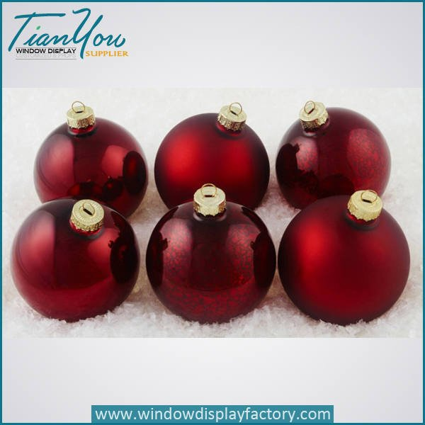 resin imitation metal electroplated christmas ball red  - Electroplate Colorful Cute Resin Christmas Ball Decoration